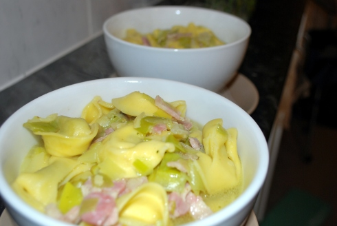 Tortelloni with Leek & Bacon Broth (2)