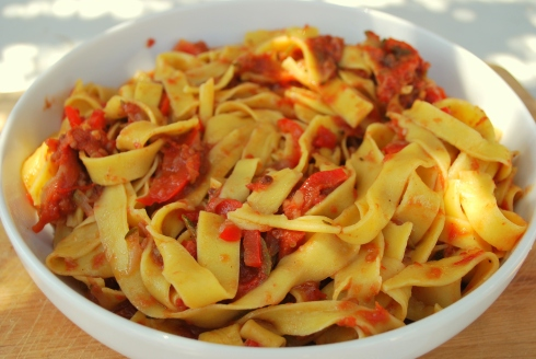 Pasta with Tomato and anchovy sauce (3)
