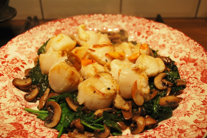 Scallops with Spinach & Blackbean Sauce (2)