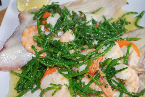 Dover Sole with Scallops, Prawns and Samphire (1)